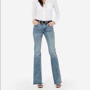 Express Midrise Denim Perfect Raw Hem Flare Jeans